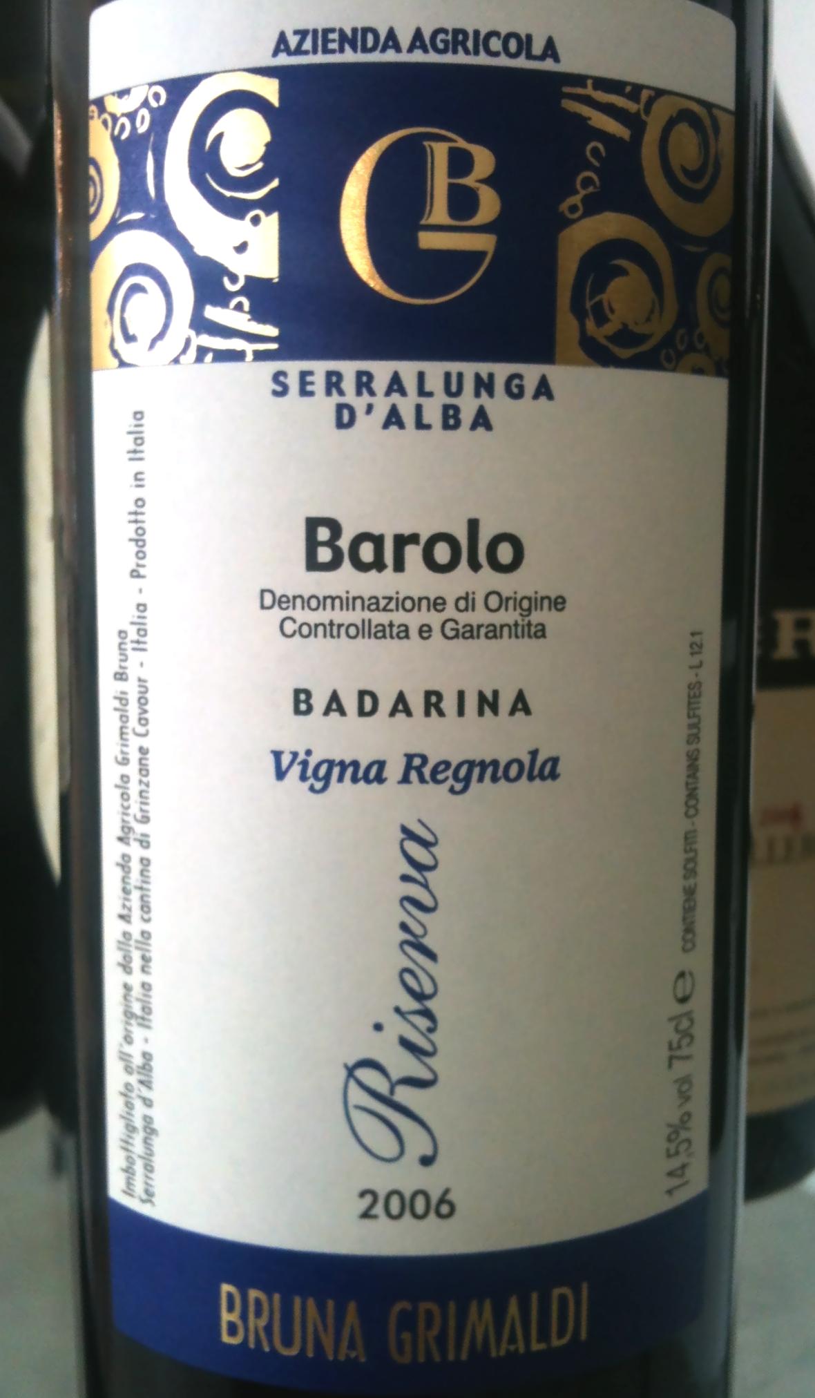 Bruna Grimaldi Barolo Riserva Badarina Vigna Regola 2006
