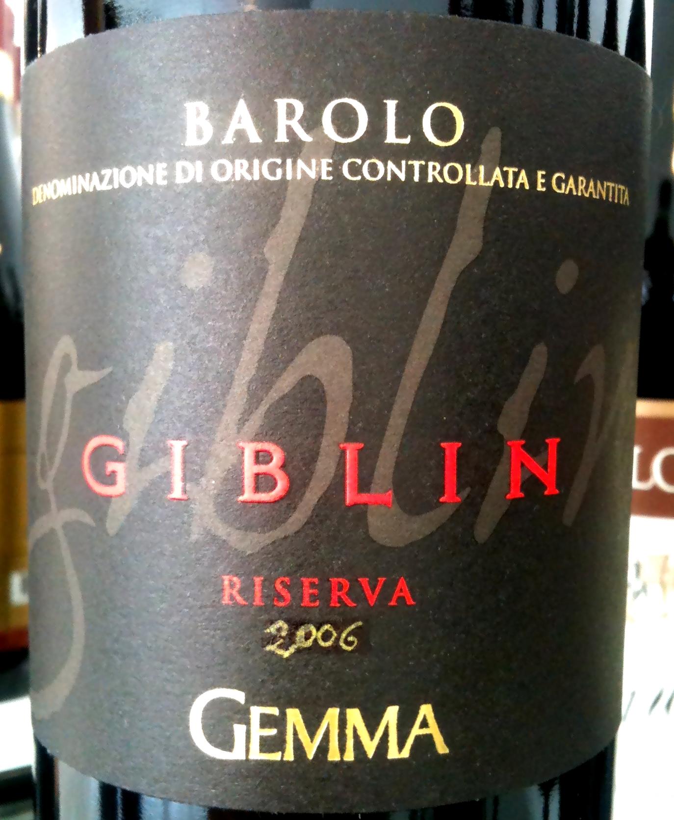 Gemma Barolo Riserva Giblin 2006