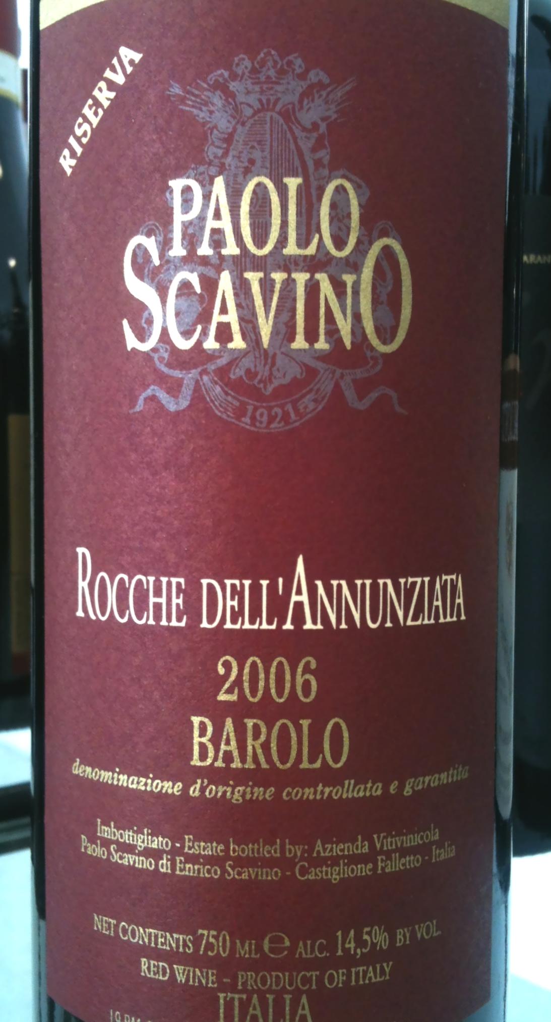 Paolo Scavino Barolo Riserva Rocche dell'Annunziata 2006