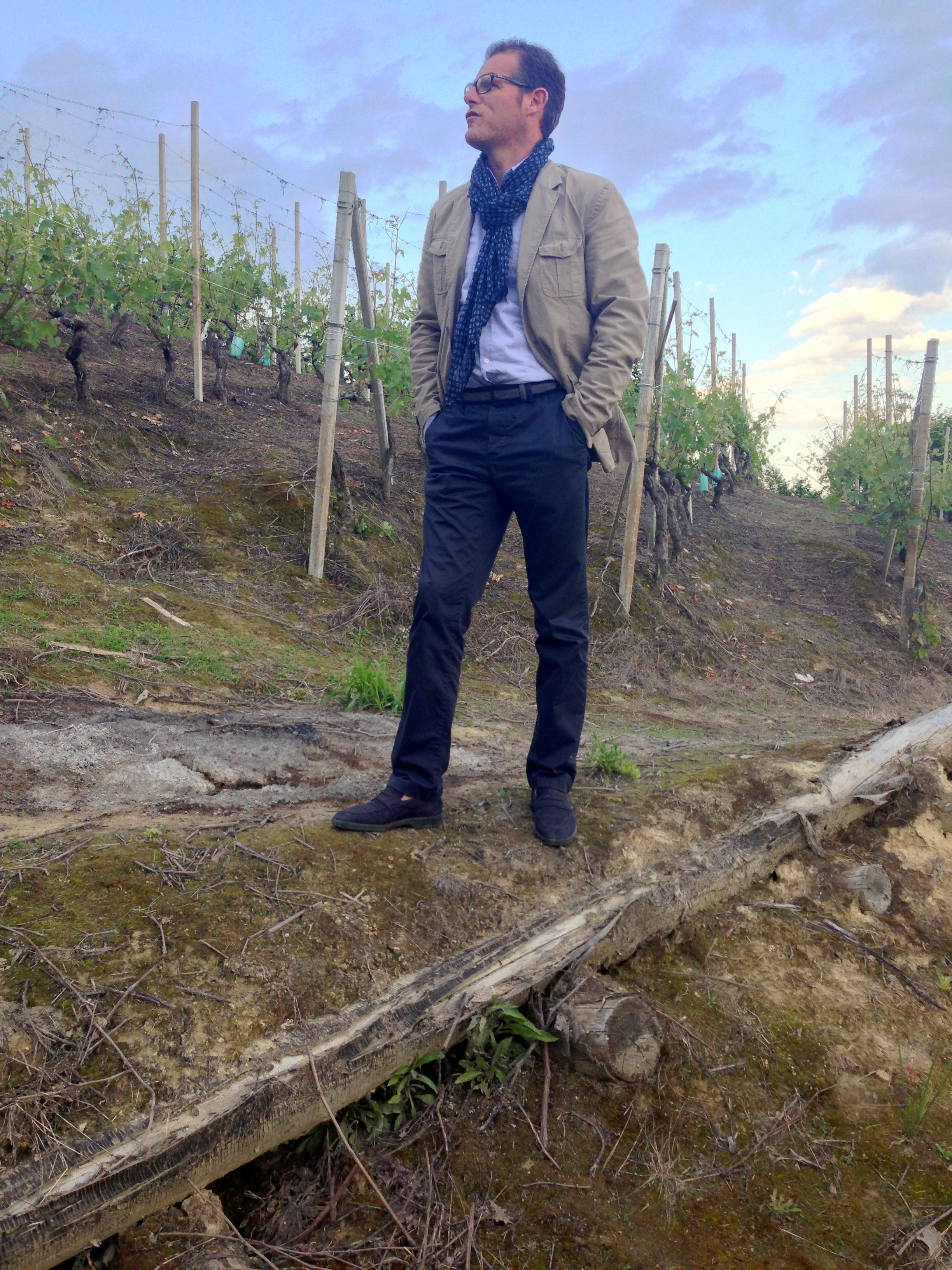 Gianni Abrigo in his vertical Valmaggiore plot.