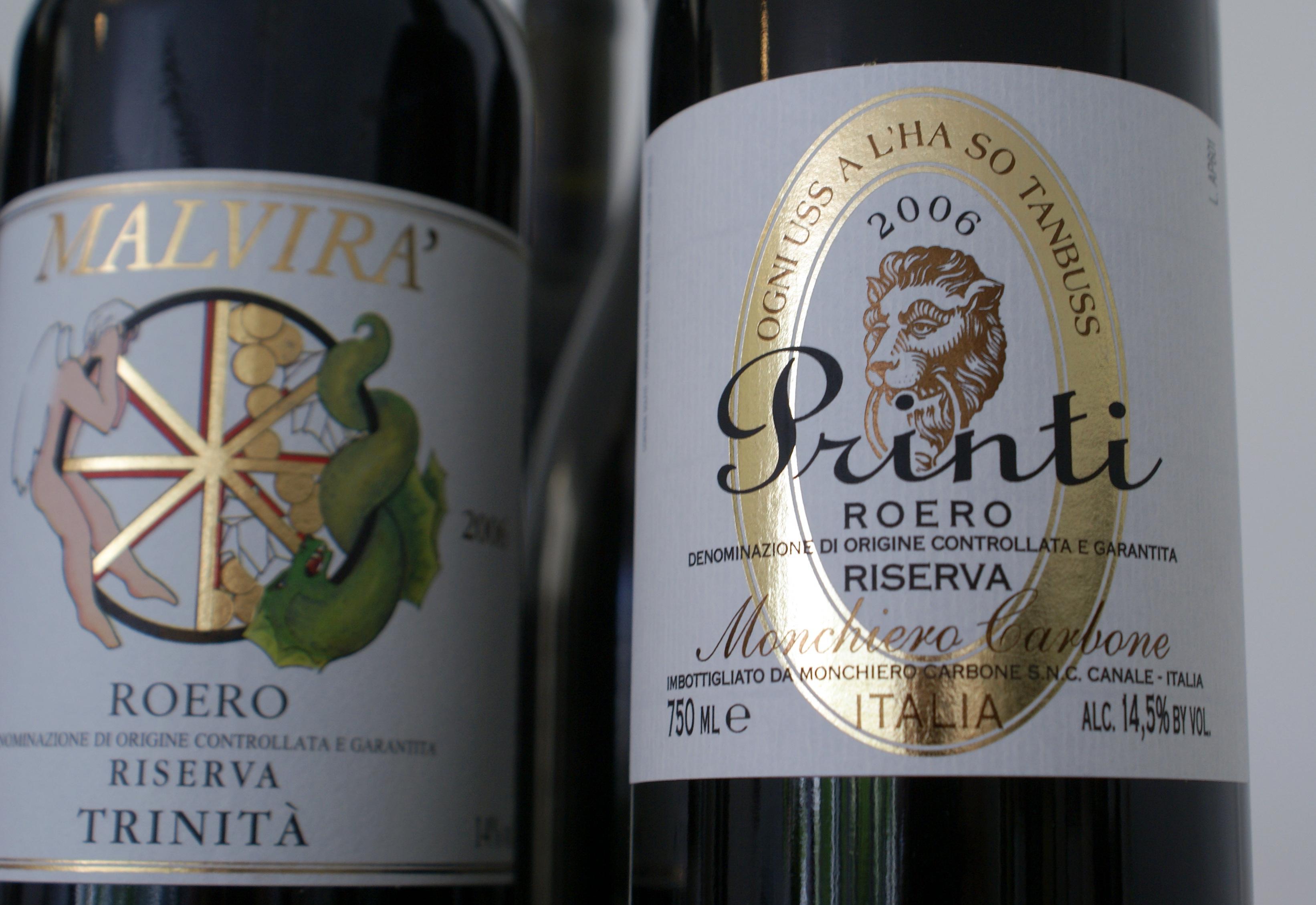 Two top Roero Riserva bottlings.