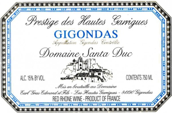 Santa Duc Gigondas Prestige des Hautes Garrigues 2001