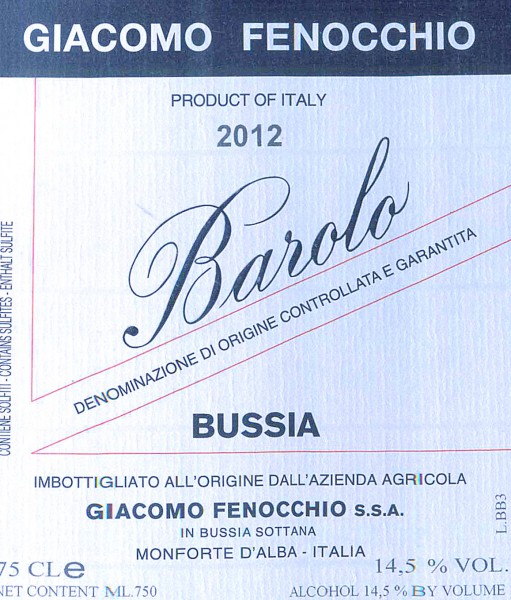 This is the basic Bussia bottling at Fenocchio.